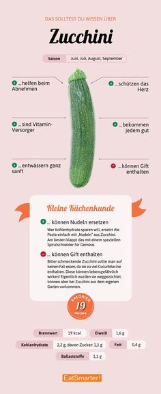 That& why zucchini is good for you! - All important information about the zuc . - That& why zucchini is good for you! – All the important information about the zucchini Healthy Food List, Healthy Fruits, Healthy Life, Healthy Living, Food Facts, Eating Plans, Superfoods, Good To Know, Zucchini Zoodles