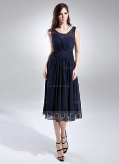 29d0640f83d A-Line Princess Scoop Neck Knee-Length Chiffon Bridesmaid Dress With Ruffle  (