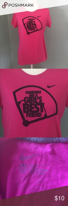 "Nike ""Diamonds Are a Girls Best Friend"" Tee This Tee is in very good condition aside from some mild fading. I would still be wearing it if my son hadn't decided to switch sports 😊 Nike Tops Tees - Short Sleeve"