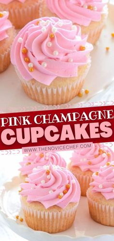 These Pink Champagne Cupcakes are exactly the Valentine's Day dessert idea that you want this year! Thanks to a boxed white cake mix, this recipe is easy to make. With almost 2 cups of sparkling rosé… More Best Dessert Recipes, Cupcake Recipes, Fun Desserts, Delicious Desserts, Cupcake Cakes, Individual Desserts, Yummy Snacks, Holiday Recipes, Easy Recipes