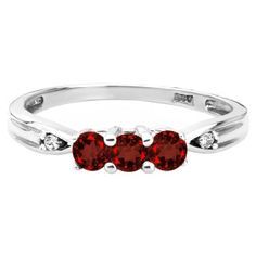 3 Stone Round Cut Garnet Gemstone Diamond White Gold Ring Available Exclusively at Gemologica.com