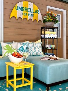 Hello yellow. Bright and sunny pops of yellow for the porch: http://www.completely-coastal.com/2015/06/coastal-summer-porch-decor-ideas.html