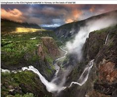 Voringlossen is the 83rd highest waterfall in Norway on the basis of total fall.