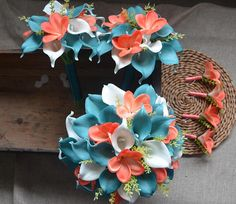 Teal Coral Wedding Bouquets Coral Plumerias Teal Blue Callas