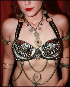 Custom Evil Worship Tribal Fusion Belly Dance Burlesque Bra by AbsintheDancer