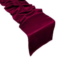 """12"""" x 108"""" burgundy satin table runner. This runner provides a great way to make your table look """"dressed."""" Hand wash only. Do not put this in the dryer."""