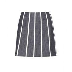 Victoria Beckham Denim Striped Panel Denim Miniskirt ($89) ❤ liked on Polyvore featuring skirts, mini skirts, bottoms, jupes, saias, blue, short mini skirts, denim mini skirt, stripe skirt and blue stripe skirt