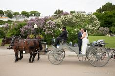 Gough Wedding Carriage Mackinac Island Michigan Photo by Paul Retherford Wedding Photography, http://www.PaulRetherford.com #mackinacisland #weddingcarriage #goughlivery #goughweddingcarriage
