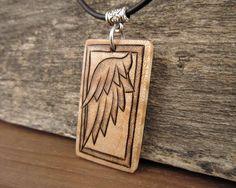 Wood Angel Wing Pendant Necklace, Handmade Angel Wing Pendant On Custom Necklace, Pyrography Jewelry