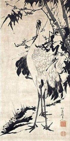 松竹梅群鶴図 Pine, Bamboo, Ume and Cranes 伊藤若冲 ITO Jakuchu. Japanese hanging scroll. Eighteenth century.