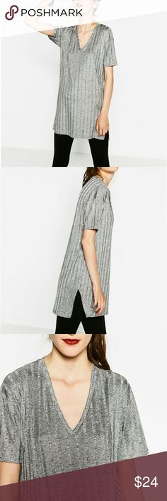 Zara Silver Ribbed V Neck Tunic Top - M & L Brand new with tags, perfect condition. Silky marked silver tunic with side vents. Great athleisure piece! Zara Tops Tunics