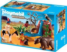 Native American Children with Bear Cave by Playmobil. $42.99. Made in Germany. Part of the Playmobil Western 2012 series. Set includes three figures, bear, horse, rabbit, beaver, eagle, cactus, surrounding landscape with pond, fish, and additional accessories. Beware of the bear as you explore the great outdoors with the Native American Children with Bear Cave. Set includes three figures, bear, horse, rabbit, beaver, eagle, cactus, surrounding landscape with pond, fish,...