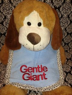 """""""Gentle Giant"""" Embroidered Large Dog Drool Bib Blue Green Terrycloth 
