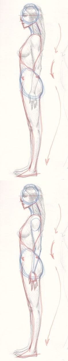 draw woman body from side view step 2