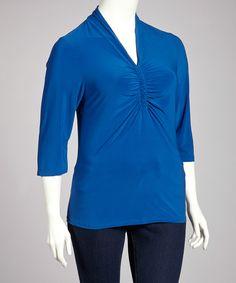 Royal Blue Three-Quarter Sleeve Top - Plus by Avital #zulilyfinds