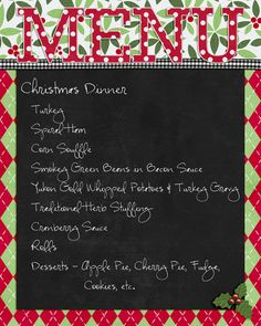Christmas menu printable freebie
