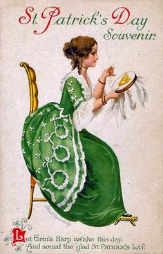 St Patrick's Day image with lady sewing