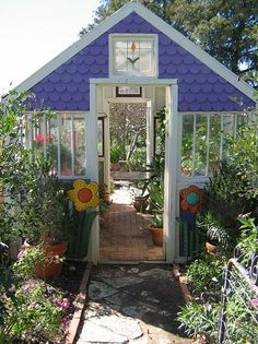 What I love about this is the front and back door. So many times I want to go to opposite ends of the greenhouse. Combine a greenhouse, potting shed and patio area. Old Window Greenhouse, Backyard Greenhouse, Small Greenhouse, Greenhouse Plans, Portable Greenhouse, Recycled Windows, Old Windows, Garden Cottage, Home And Garden