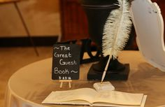 The Great Guest Book :: Gatsby wedding :: feather pen