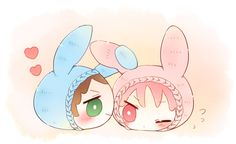 From nrmimi_ ... Free! - Iwatobi Swim Club, free!, iwatobi, rin matsuoka, matsuoka, rin, sousuke, yamazaki, sousuke yamazaki, squishy bean, bunny outfit