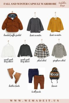 A fall and winter capsule wardrobe for your toddler boy. A fall and winter capsule wardrobe for your toddler boy. Boys Fall Fashion, Toddler Boy Fashion, Little Boy Fashion, Toddler Boy Outfits, Toddler Boys, Kids Boys, Child Fashion, Winter Fashion, Kids Wardrobe