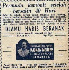 Indonesian Old Commercials: Habis Beranak Njonja Meneer ( after giving birth traditional medicine)
