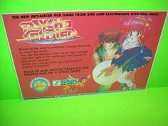 SNK PSYCHO SOLDIER Original NOS 1986 Video Arcade Game Flyer Electrocoin Rare UK #Electrocoin #PsychoSoldier #VideoGame #ArcadeFlyer www.arcadegameflyers.com