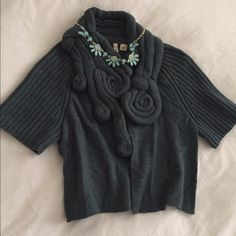 Price Drop! Anthropologie (Moth) Cropped Sweater Whimsical & classy deep turquoise Anthropologie cropped sweater. Gorgeous with a little dress or skirt, or dress it down with jeans and booties. Very versatile! Worn only twice. Size XS, but can fit S or M size, too! Anthropologie Sweaters