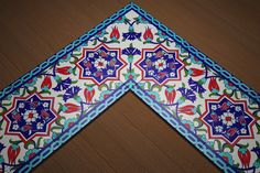 İkbal Çini | Ürünler Border Pattern, Border Design, Pattern Art, Islamic Tiles, Islamic Patterns, Vintage Tile, Turkish Art, Clay Tiles, Turkish Fashion