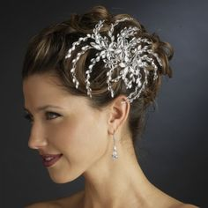 Silver Clear Marquise Rhinestone Floral Side Comb Bridal Wedding Headpiece