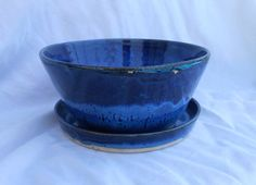 Pottery Planter with Plate, Drainage Hole, Large in Blue with Speckles