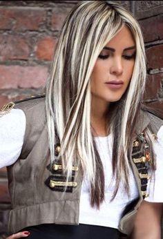 Dark brown/black hair with heavy platinum highlights