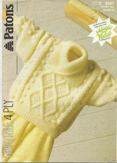 Vintage PDF Baby Knitting Pattern - Patons 8347 - sweater Instant Download [