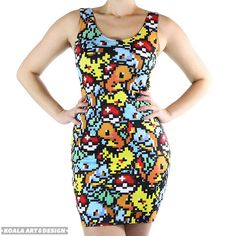 Show your favorite Pokemon some love as you let your geek flag fly high while wearing this pixelated Pokemon dress. The design mashes various Pokemon together to create an abstract pattern and color scheme that'll turn heads wherever you go. Nerd Fashion, Quirky Fashion, Diy Fashion, Geek Chic Outfits, Cute Outfits, Character Inspired Outfits, Custom Printed Fabric, Dress Up, My Style