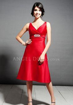 Satin A line V Neck Empire Knee Length Sleeveless Bridesmaid Dress