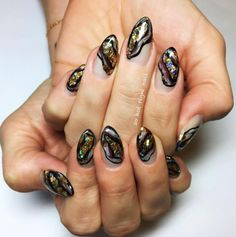 Gold Geode Nails