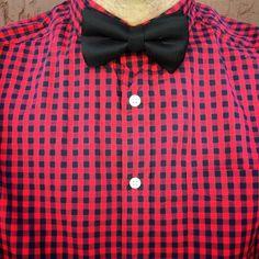 Red Black Gingham Shirt, Black Bow Tie