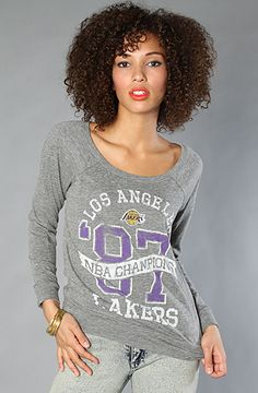 $27 The NBA L.A. Lakers Off Shoulder Raglan in Steel by Junkfood Clothing at karmaloop.com - Use repcode SMARTCANUCKS for an extra 20% OFF at the checkout on Karmaloop.com