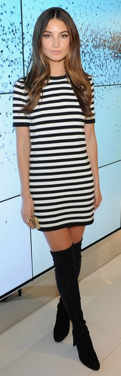 Pin for Later: You Almost Missed This Week's Best Outfits Lily Aldridge Lily kept it casual at the Michael Kors Miranda Eyewear Collection Event wearing a striped minidress and over-the-knee Stuart Weitzman boots. Lily Aldridge, Look Fashion, Womens Fashion, Fashion Trends, Fall Fashion, Tokyo Fashion, Fashion 2016, Petite Fashion, Curvy Fashion
