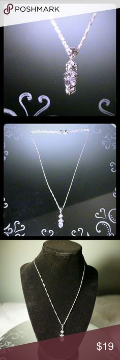 925 3 Tier CZ 17 Inch Necklace Gorgeous sparkly 3 Tier CZ lab created stone with 925 marked pendant and 17 necklace. Great gift or for your personal collection comes with Della Ama tag and small black velvet jewelry bag. Della Ama Jewelry Necklaces