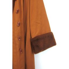 Long vintage Winter Coat Rust Orange Belted Trench coat 1970s Retro... ($65) ❤ liked on Polyvore featuring outerwear, coats, trench coat, retro coat, long belted coat, brown coat and long trench coats