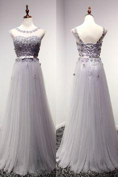 Bg758 Charming Prom Dress,Appliques Prom Dress,Tulle Prom Dress,Backless