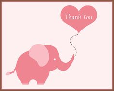 Elephant Thank You Notes for Baby Shower or by TheInviteLadyShop