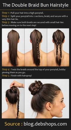how to Double Braid Bun Hairstyle