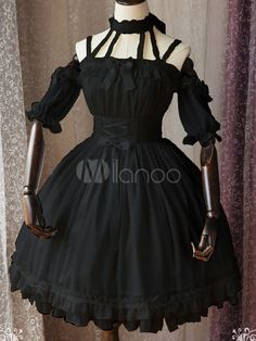 Gothic Lolita OP One Piece Dress Magic Tea Party Ruffles Bows Printed Chiffon Short Sleeve Black Lolita Dresses
