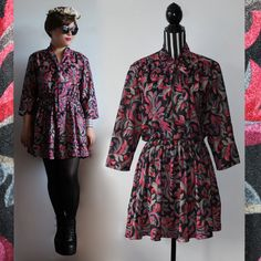 70s bow collar dress  // size XL // free shipping in Australia by ScarlessVintage on Etsy