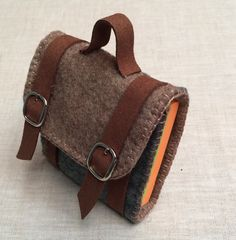 Handmade brown green felt backpack shape post it note holder,men bag,post it…