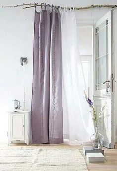 Linen curtains on branch - above window (can be closed when watching a movie and open during the day. It will dress the room (H&M have cheap voile curtains or we can buy a sort of linen fabric online) Branch Curtain Rods, Interior And Exterior, Interior Design, Linen Curtains, Hang Curtains, Unique Curtains, Colorful Curtains, Drapery, Home And Deco