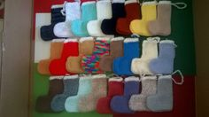 24 x Stockings  Christmas Advent Calendar mixed colour Hand Knitted FREE uk P&P  Ebay id cathys987