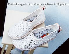 Ravelry: White Lace Basic Slippers applied Tailored Crochet soles wirh Sole Treatment for street-wear! Espadrilles/Toms pattern by Ingunn Santini